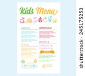 kids menu. vector template. | Shutterstock .eps vector #245175253