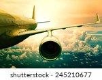 Passenger Plane Flying  Over...