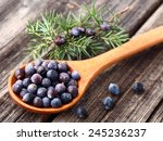 Juniper On A Wooden Background