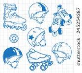 set of roller skates helmets... | Shutterstock .eps vector #245254387