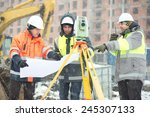 civil engineers at construction ... | Shutterstock . vector #245307133
