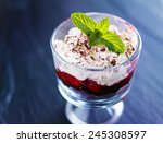 cherry and chocolate cake... | Shutterstock . vector #245308597