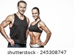 couple with beautiful athletic... | Shutterstock . vector #245308747