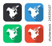 north america map icon  ... | Shutterstock .eps vector #245354107