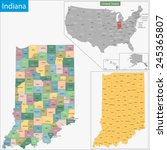 map of indiana state designed... | Shutterstock . vector #245365807