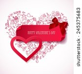 red paper heart banner with... | Shutterstock .eps vector #245375683