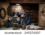 retro car in the garage for... | Shutterstock . vector #245376307