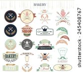 vintage retro bakery badges and ... | Shutterstock .eps vector #245408767