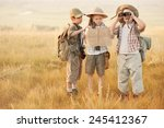 three children with maps and...   Shutterstock . vector #245412367