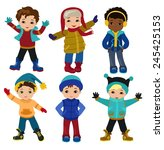 set of characters funny boys in ... | Shutterstock .eps vector #245425153