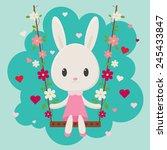 Cute Cartoon Bunny Sitting On ...