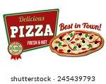 pizza icon on white background  ... | Shutterstock .eps vector #245439793