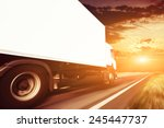 white truck on the asphalt... | Shutterstock . vector #245447737