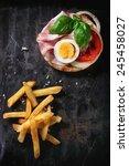 sandwich with ham  eggs ... | Shutterstock . vector #245458027