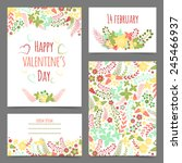 set of valentine's flower cards.... | Shutterstock .eps vector #245466937