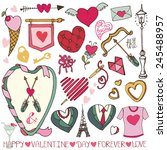 valentine's day wedding love... | Shutterstock .eps vector #245488957