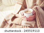 warm cup of hot coffee warming... | Shutterstock . vector #245519113