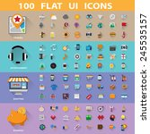 100 flat icons collection... | Shutterstock .eps vector #245535157