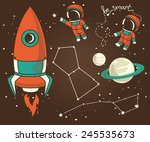 Постер, плакат: planets constellations astronauts floating