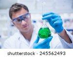 chemist holding up beaker of... | Shutterstock . vector #245562493