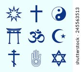 a set of religious symbols.... | Shutterstock .eps vector #245563513