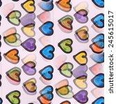 seamless colour hearts... | Shutterstock . vector #245615017