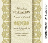 baroque wedding invitation card ... | Shutterstock .eps vector #245639317