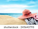 summer time and red hat with... | Shutterstock . vector #245643793