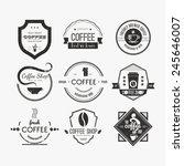 vector set of coffee shop logos ... | Shutterstock .eps vector #245646007
