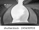 Stock photo looking up at the curved towers of the toronto canada city hall 245650933