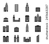 set of black buildings on white ... | Shutterstock . vector #245663287