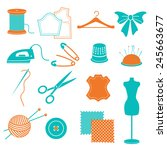 set of sewing equipment and... | Shutterstock . vector #245663677