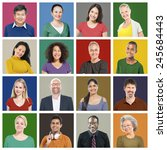 people diversity faces human... | Shutterstock . vector #245684443