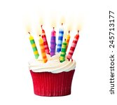 birthday cupcake against a... | Shutterstock . vector #245713177