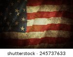 closeup of grunge american flag | Shutterstock . vector #245737633