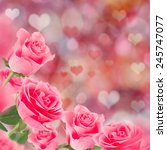 pink roses  valentine's day... | Shutterstock . vector #245747077