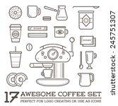 set of vector coffee elements... | Shutterstock .eps vector #245751307