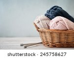 wool yarn in coils with... | Shutterstock . vector #245758627