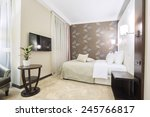 hotel bedroom interior in the... | Shutterstock . vector #245766817