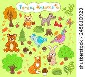 children's drawings forest... | Shutterstock .eps vector #245810923