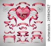 vector set of valentines day... | Shutterstock .eps vector #245842417