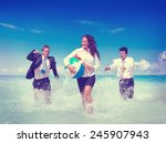 business people fun playing... | Shutterstock . vector #245907943