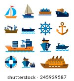 vector color boat and ship... | Shutterstock .eps vector #245939587