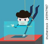 hackers abseiling steal data... | Shutterstock .eps vector #245947987