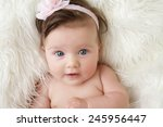 newborn baby girl posed in a... | Shutterstock . vector #245956447