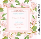 wedding invitation with flowers.... | Shutterstock .eps vector #245987983