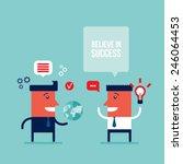happy businessmen talking... | Shutterstock .eps vector #246064453