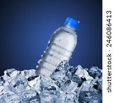 cold water bottle on ice cubes | Shutterstock . vector #246086413