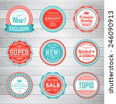 Vintage Labels template set. Retro badges for your design on wooden background. Vector illustration. | Shutterstock vector #246090913