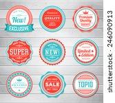 Vintage Labels template set. Retro badges for your design on wooden background. Vector illustration.   Shutterstock vector #246090913